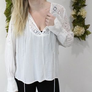 NWT  White High Low Long Sleeve Blouse